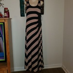 New Calvin Klein Sz 10 Striped Stretch Maxi Dress